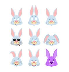 Rabbit set emoji avatar sad and angry face guilty vector