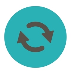Refresh flat grey and cyan colors round button vector