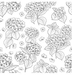 Seamless floral pattern with hydrangea vector