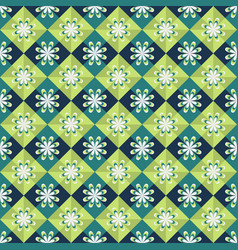 seamless geometric pattern on green background vector image