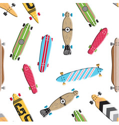 seamless pattern skateboard and longboards vector image
