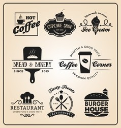 Set food and drink badges logo vector
