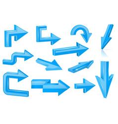 set of blue arrows shiny 3d web icons vector image