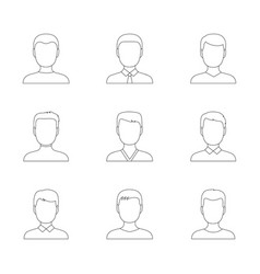 set of outline icons of men vector image