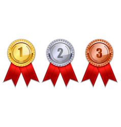 set of realistic badge award isolated or winner vector image