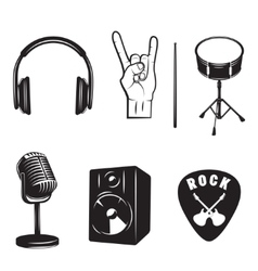 Set of rock and roll music elements vector