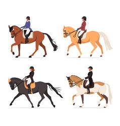 Set young horsewoman at racecourse vector