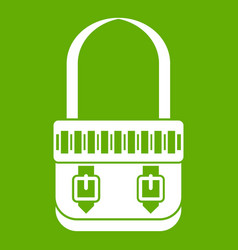 Shoulder bag icon green vector