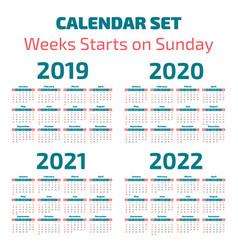 Simple 2019-2022 years calendar vector