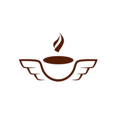 simple and flat coffee mug with wings icon vector image