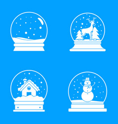 Snow globe ball christmas icons set simple style vector