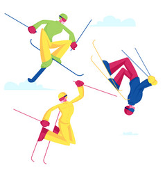 Sportsmen freestyle skiing jump winter sport vector