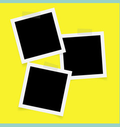 three square photo frames with sticky tape vector image