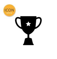 trophy cup icon isolated flat style vector image
