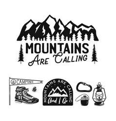 Vintage camp logos mountain badges set hand vector