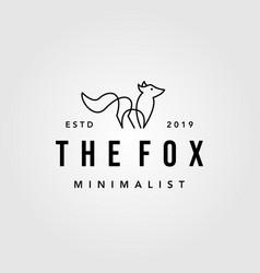 vintage minimalist line art fox logo hipster vector image