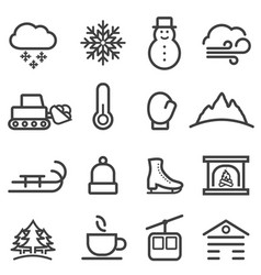 winter and snow line icons vector image