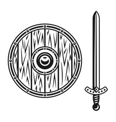 wooden shield and sword set of objects vector image