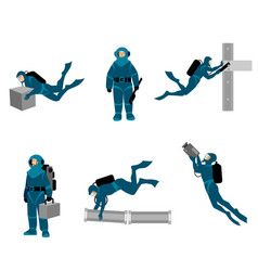 working divers on white background vector image