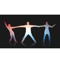 young people posing for camera triangles vector image