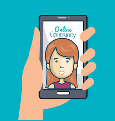 community online with hand holdign smartphone vector image vector image