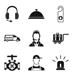 enterprise support icons set simple style vector image