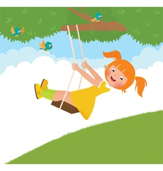 Girl on a swing vector image vector image