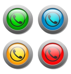 Phone handset icon glass button set vector image vector image