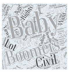 wants of baby boomers Word Cloud Concept vector image
