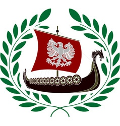 ancient ship and laurel wreath vector image