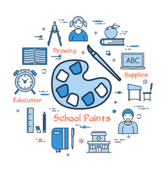 blue concept with school paints icon vector image vector image