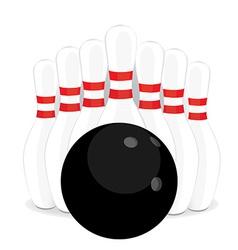 Bowling pins and black ball vector image