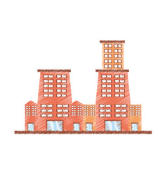 Drawing building contemporary city vector