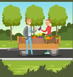 farmer woman selling vegetables from wooden cart vector image vector image
