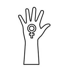 Hand human silhouette with female symbol icon vector