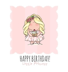 Happy Birthday card for girl cute little girl vector image vector image