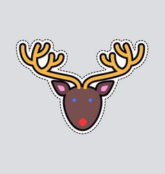 xmas deer head and horns simple cartoon style vector image