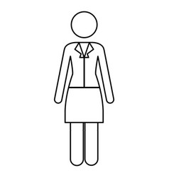 monochrome contour pictogram of business woman in vector image vector image