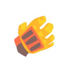 orange goalkeeper glove cartoon vector image