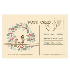 Retro christmas greeting postcard with birds vector image