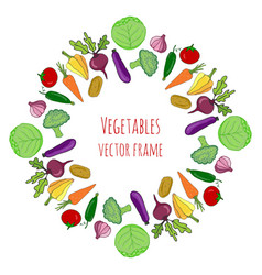 vegetable hand drawn set isolated vegetables vector image vector image
