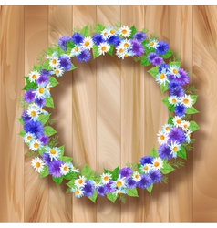 Flowers wreath greeting card on wooden background vector image vector image