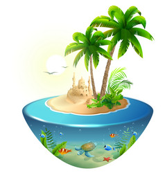 paradise tropical island in sea palm sand castle vector image vector image