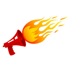 red vintage megaphone and flame vector image vector image