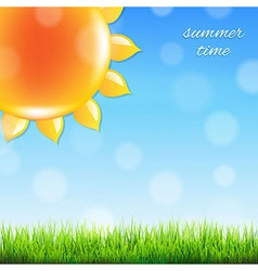 Summer Sun With Grass vector image vector image