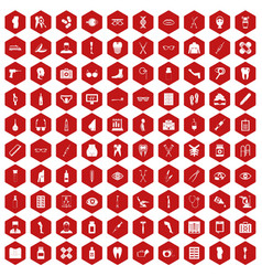 100 pharmacy icons hexagon red vector