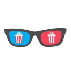 3d glasses icon popcorn box cinema movie night vector image