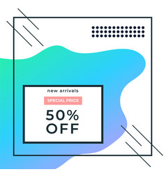 Abstract minimalistic modern 50 blue sale banner vector