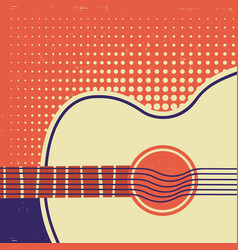 Acoustic guitar on old paper retro poster vector