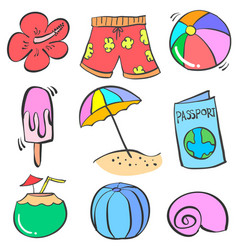Art summer object doodles vector